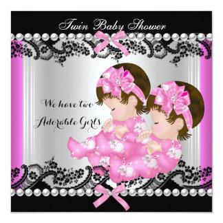 Bebés bonitos gêmeos do rosa quente do chá de