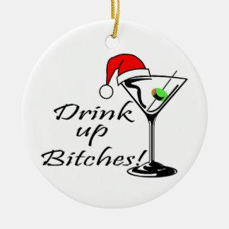 Bebida acima da bebida do Natal Ornamento De Cerâmica Redondo