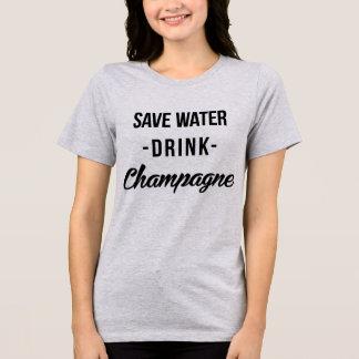 Bebida Champagne da água das economias do t-shirt Camiseta