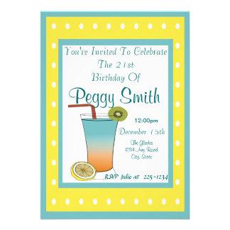 Bebida tropical do aniversário de 21 anos convite