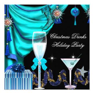 Bebidas azuis do branco do Natal elegante da festa Convite Personalizados