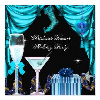 Bebidas azuis do branco do Natal elegante da festa Convites Personalizado
