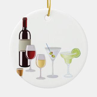 Bebidas do álcool ornamento de cerâmica redondo
