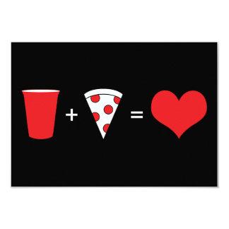 bebidas + pizza = amor convite 8.89 x 12.7cm