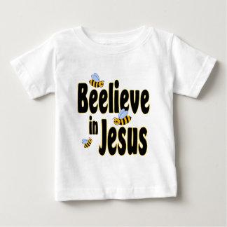 Beelieve no preto de Jesus Camiseta Para Bebê
