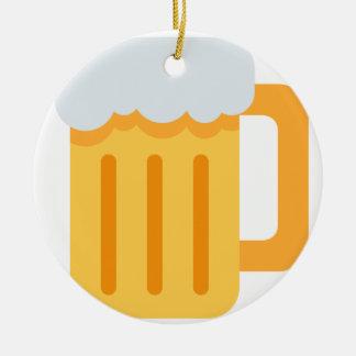 Beer time emoji ornamento de cerâmica