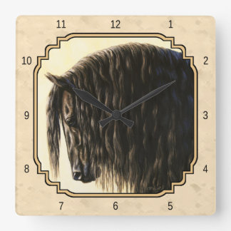 Bege preto do cavalo do frisão relógio quadrado