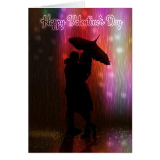 Beijando me no casal do dia dos namorados da chuva cartao