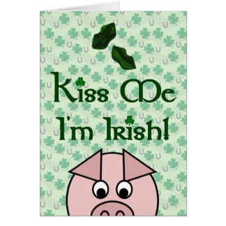 Beije-me cartão do Dia de São Patrício do porco