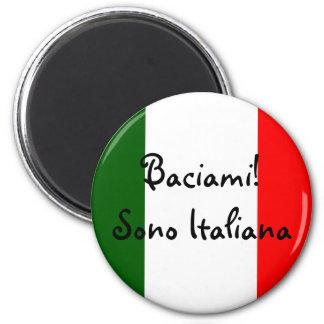 Beije-me! Eu sou italiano Ímã Redondo 5.08cm