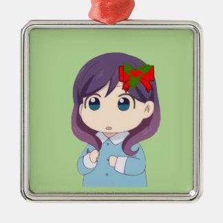 Beije-o, não mim! Ornamento quadrado do feriado