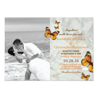 Beijo/borboleta do casamento de praia convite 12.7 x 17.78cm