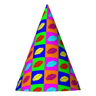 Beijo colorido do batom do pop art chapéu de festa