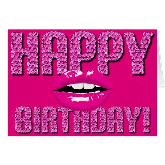 Beijo cor-de-rosa do aniversário do batom dos cartão comemorativo