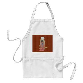 Beijo de Goldendoodle o avental do cozinheiro