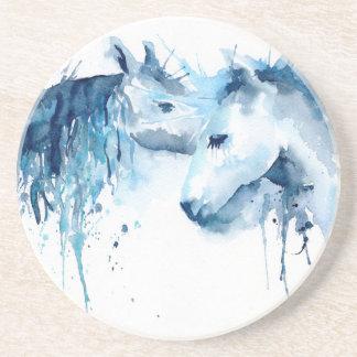 Beijo do cavalo da aguarela, amor do cavalo porta-copos de arenito