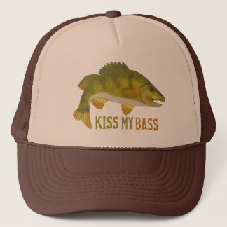 Beijo engraçado meu humor baixo do pescador da boné