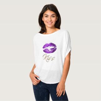 Beijo - lábios roxos do brilho camiseta