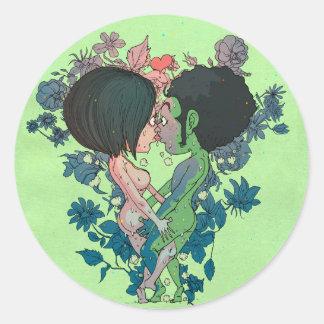 Beijo verde adesivo redondo