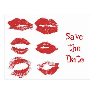 Beijos do batom - salvar a data cartão postal