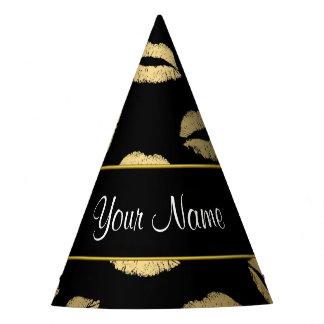Beijos do preto e do ouro chapéu de festa