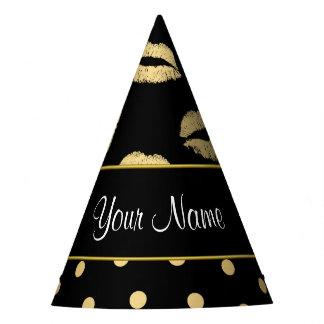Beijos do preto e do ouro e corações do amor chapéu de festa
