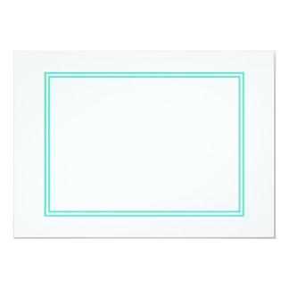 Beira azul do Aqua dobro no branco Convite 12.7 X 17.78cm