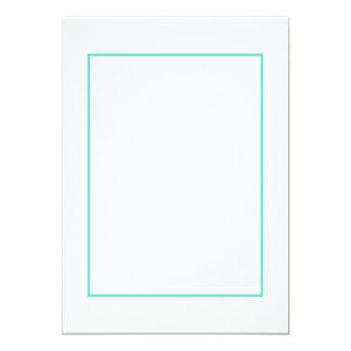Beira azul do Aqua no branco Convite 12.7 X 17.78cm