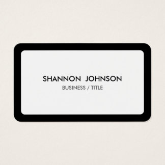 Beira branca e preta arredondada mínima cartão de visitas