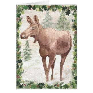 Beira do azevinho do cartão de Natal dos alces