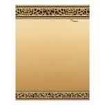 Beira do leopardo do ouro do cabeçalho papeis de carta personalizados