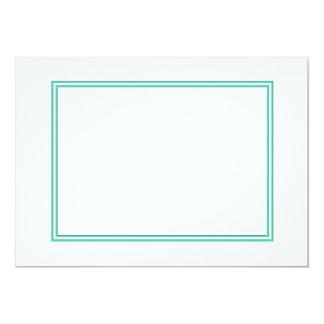 Beira dobro azul do Aqua no branco Convite 12.7 X 17.78cm