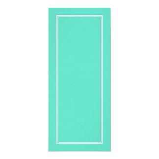 Beira dobro branca da sombra no azul do Aqua Convite 10.16 X 23.49cm