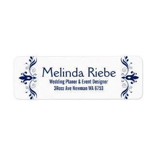 Beira floral azul marinha dos redemoinhos etiqueta endereço de retorno