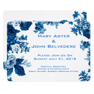 Beira floral botânica do vintage azul & branco de convite 12.7 x 17.78cm