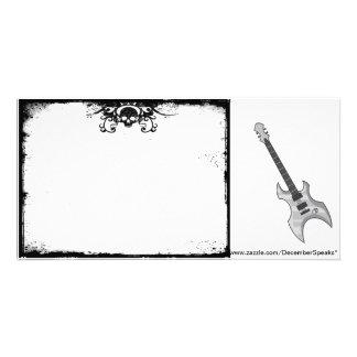 Beira/guitarra do crânio cartão com foto