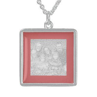 Beira indiana da foto do quadrado vermelho colar de prata esterlina