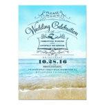 Beira-mar azul do ombre dos convites retros do convite 12.7 x 17.78cm