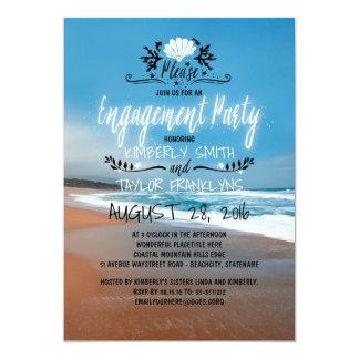 Beira-mar da festa de noivado | da praia convite 12.7 x 17.78cm
