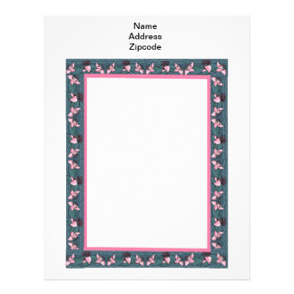 Beira Papel de carta-Cor-de-rosa da flor da almofa