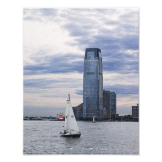 Beira-rio de Jersey City com veleiros Impressão De Foto