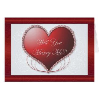 Beira vermelha do cetim você casar-me-á cartão