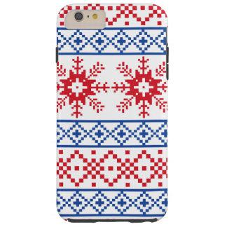 Beiras nórdicas do floco de neve do Natal Capas iPhone 6 Plus Tough