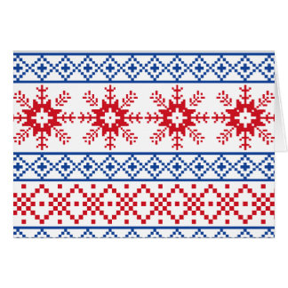 Beiras nórdicas do floco de neve do Natal Cartão