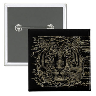 Belas artes 3 do tigre - botão bóton quadrado 5.08cm
