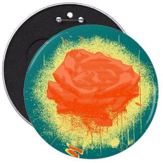 Belas artes da rosa vermelha do vintage bóton redondo 15.24cm