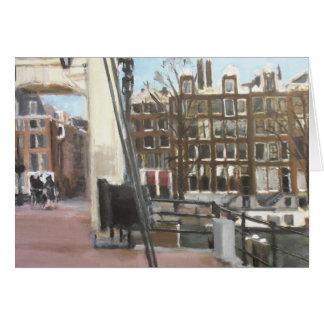 Belas artes das casas da ponte e do canal de cartão comemorativo