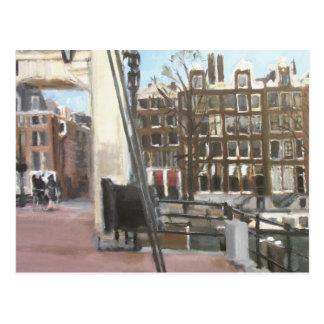 Belas artes das casas da ponte e do canal de cartão postal