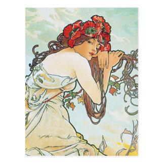 Belas artes de Alphonse Mucha da temporada de Cartão Postal