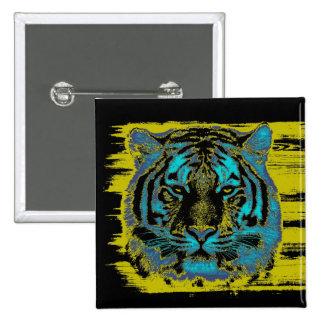 Belas artes do tigre - botão bóton quadrado 5.08cm